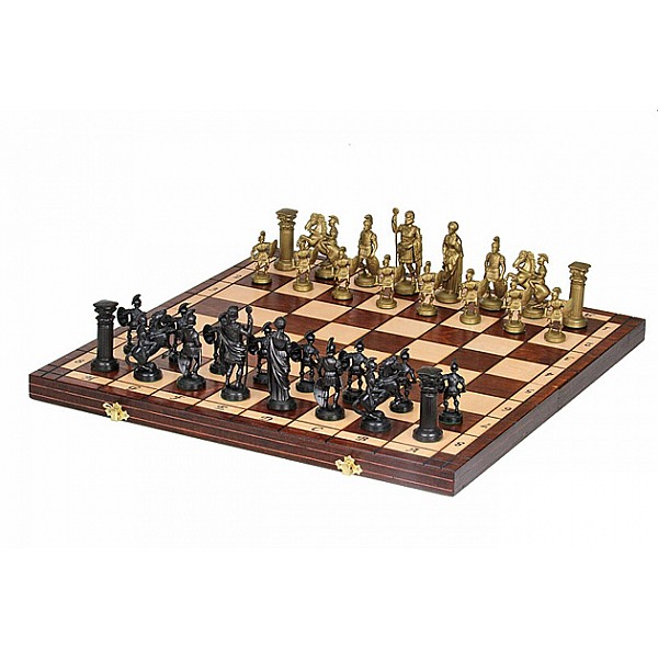 """Chess set with plastic roman pieces (size50 X 50 cm - 19.68"""" X 19.68"""" inches)"""