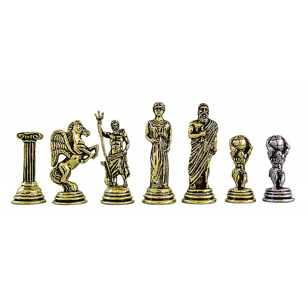 """Metal chess pieces - Atlas theme - King's height 5.3 cm / 2.08"""" inches"""
