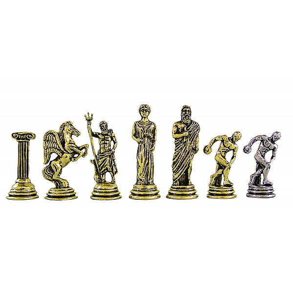 """Metal chess pieces - Discovolus theme - King's height 5.3 cm / 2.08"""" inches"""