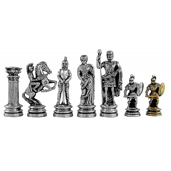 """Metal chess pieces - Ancient Rome theme - King's height 11 cm / 4.33"""" inches"""