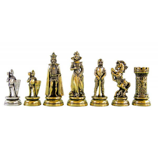 "Metal chess pieces - Maria Stuart theme - King's height 10.11 cm /4"" inches"