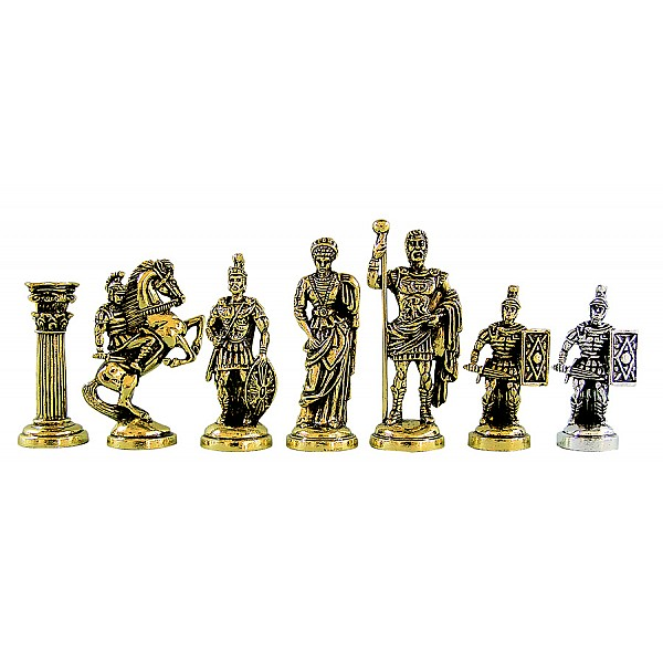 """Metal chess pieces - Crusades theme - King's height 9.5 cm / 3.74"""" inches"""