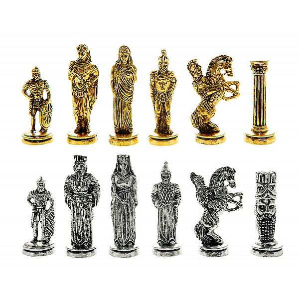 """Metal chess pieces - Alexander the great theme - King's height 7 cm / 2.75"""" inches"""