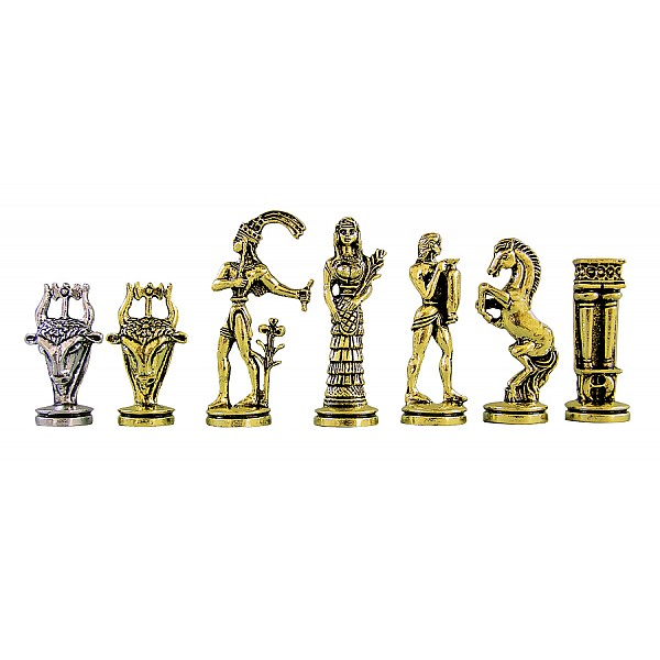 """Metal chess pieces - Taurus theme - King's height 7 cm / 2.75"""" inches"""