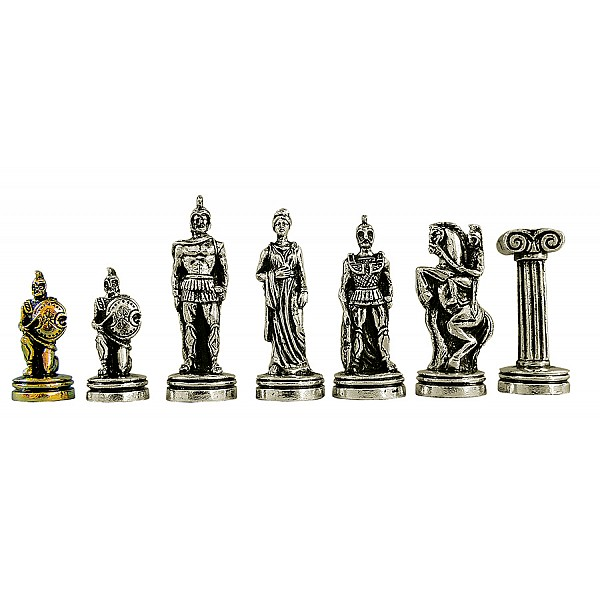 """Metal chess pieces - Troia theme - King's height 7 cm / 2.75"""" inches"""