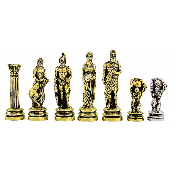 """Metal chess pieces - Atlas theme - King's height 10.11 cm /4"""" inches"""