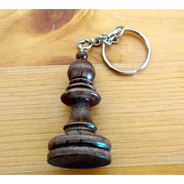 """Chess wooden keyring """"bishop"""" dark"""