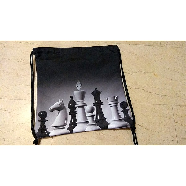 Chess bag with printed chess theme