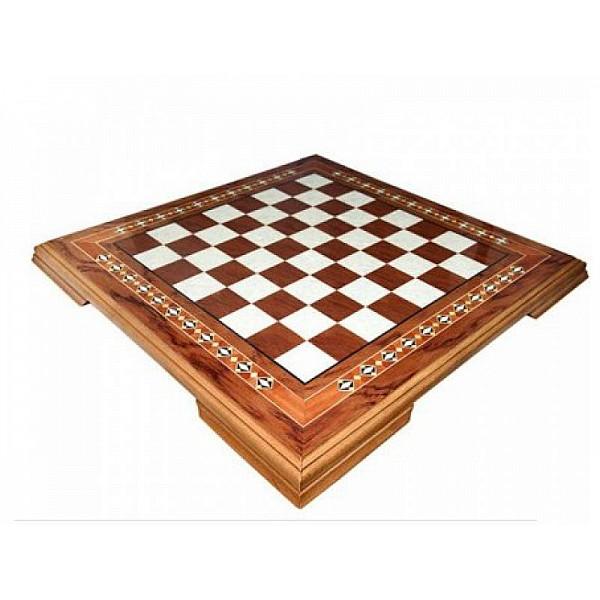 Mahogany chess board with wooden base