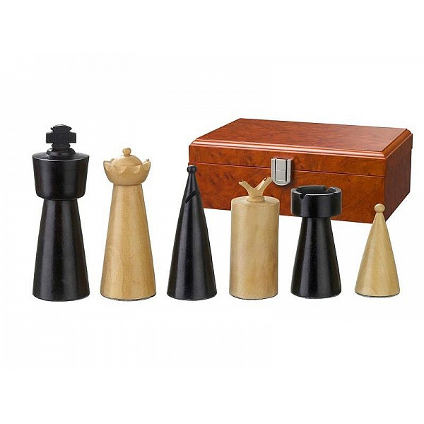 """Chess pieces Lodel deluxe - king's height 9 cm / 3.54"""" & wooden case"""
