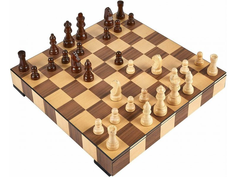 """Magnetic deluxe square wooden chess set (size 36 X 36 cm / 14.17"""" X 14.17"""" inches)"""